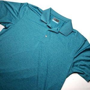 PGA Tour Golf Mens Polo Shirt Teal Blue Heathered